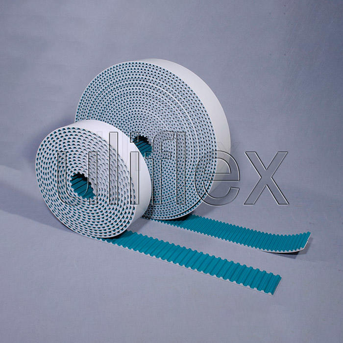 Polyurethane open ended timing belt ,green nylon tooth facing and backing ,length and width can be customized